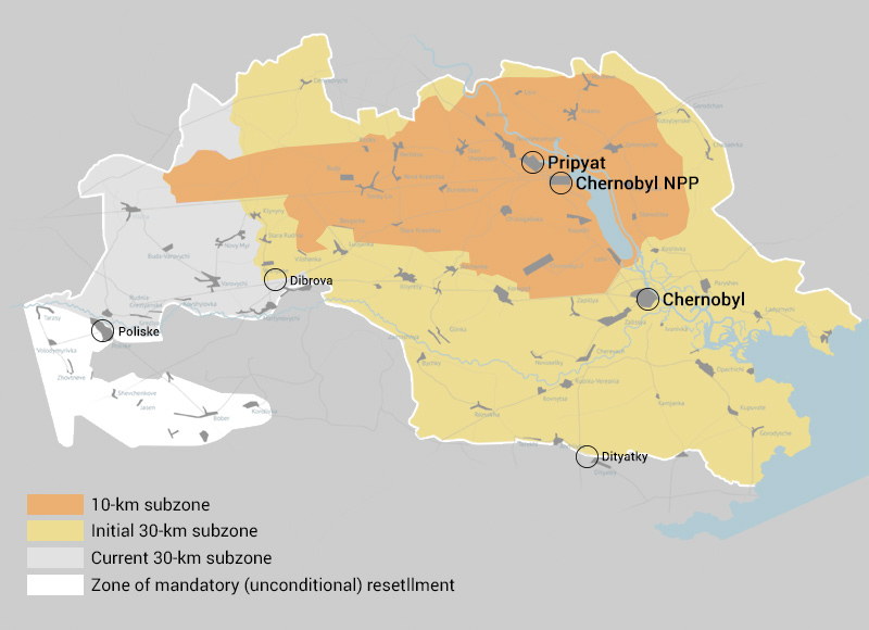 map of Chernobyl Zone